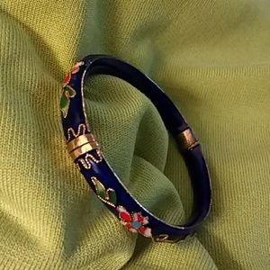 Jewelry - VINTAGE BLUE CLIOSONNE ENAMEL BANGLE BRACELET